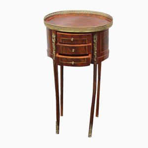 Oval Mahogany Bedside Table with Brass Gallery, 1940s