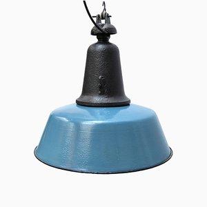 Blau emaillierte industrielle Vintage Hängelampe aus Gusseisen, 1950er