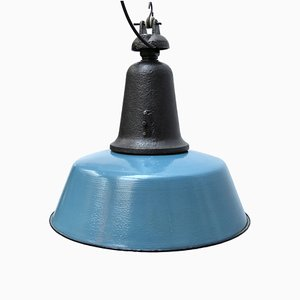 Vintage Industrial Blue Enamel and Cast Iron Pendant Lamp, 1950s