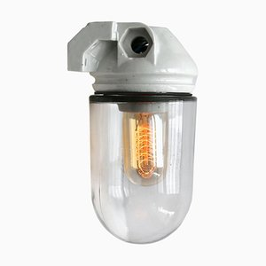 Vintage White Porcelain and Clear Glass Wall Sconce, 1950s