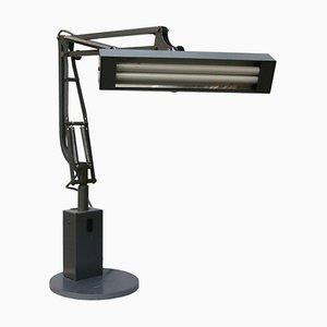 Lámpara de escritorio industrial Mid-Century con tubos de metal gris, años 50