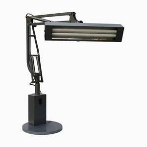 Mid-Century Industrial Grey Metal Tube Desk Lamp, 1950s
