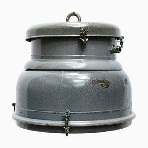 Lámpara colgante industrial vintage de esmalte gris y vidrio claro, años 50