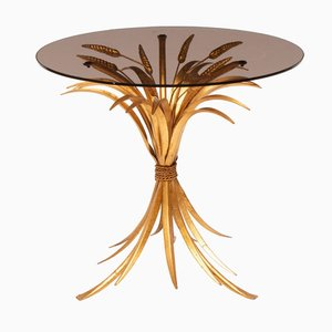 Smoked Glass Gilded Side Table, 1970s