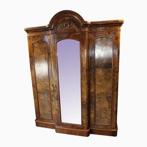 Antique Burr Walnut Three-Door Breakfront Wardrobe