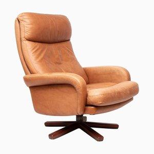 Swiss Leather Tan Swivel Armchair, 1970s
