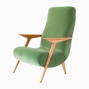 Italian Oak & Velvet Armchair, 1950s