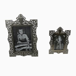 Antique Biedermeier Nickel-Plated Picture Frames, Set of 2