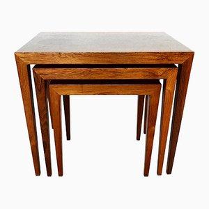 Tavolini ad incastro in palissandro di Severin Hansen per Haslev Møbelsnedkeri, anni '60