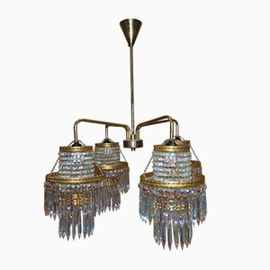 Vintage Brass Crystal Chandelier from Zeleznobrodske Sklo, 1970s