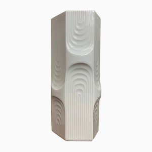 Gloss White Op Art Vase from AK Kaiser, 1970s