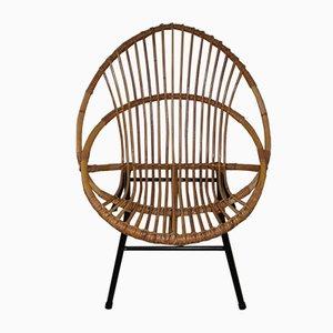 Vintage Rattan & Wicker Armchair, 1960s