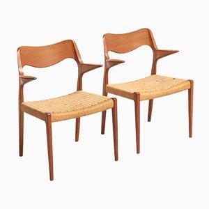 Sedie da pranzo in corda di carta di Niels Otto Møller per J.L. Møllers, anni '50, set di 6