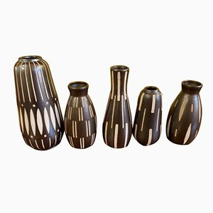 German Pottery Vase Set by Anton Piesche & Reif for Kamenz, 1950s