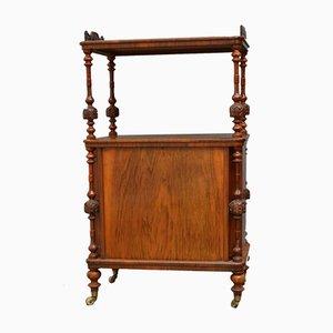 Soporte victoriano antiguo de nogal con estantes