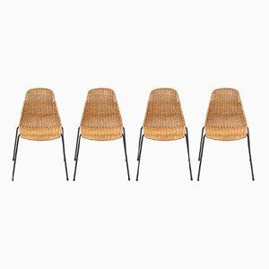Chaises de Salle à Manger en Rotin par Gian Franco Legler, Set de 4