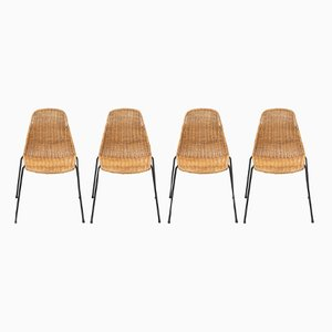 Rattan Dining Chairs by Gian Franco Legler, Set of 4