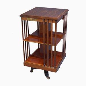 Antikes edwardianisches drehbares Bücherregal aus Mahagoni