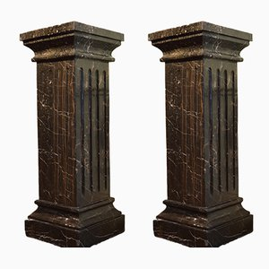 19th Century Black Marble Pedestals, Set of 2