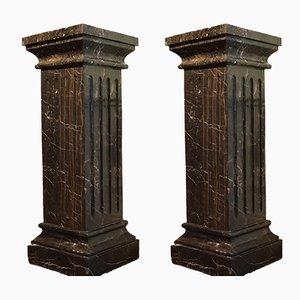 Pedestales de mármol negro, siglo XIX. Juego de 2