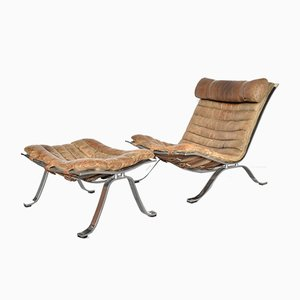 Lounge Chair with Footstool by Arne Norell for Arne Norell AB, 1970s