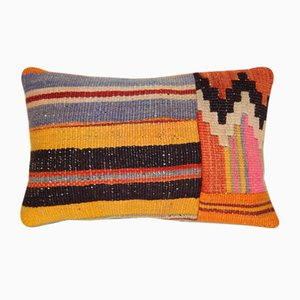 Woven Wool Lumbar Throw Pillow Cover from Vintage Pillow Store Contemporary