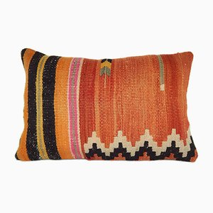 Orange Turkish Lumbar Wool Kilim Pillow Cover from Vintage Pillow Store Contemporary