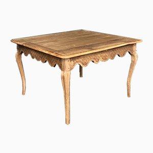 Mesa de comedor francesa antigua de roble blanqueado