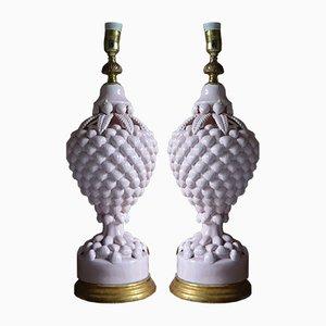 Lampes de Bureau Blanches de Manises, Espagne, 1960s, Set de 2