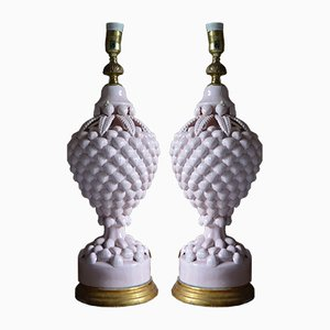 Spanish White Table Lamps from Manises, 1960s, Set of 2