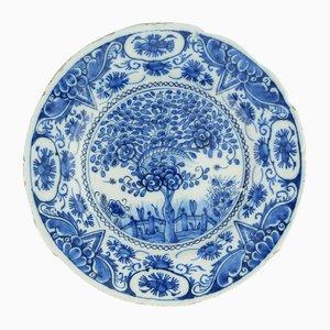 Antiker niederländischer Keramikteller von Delft