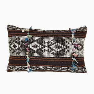 Brown Goat Hair Kilim Pillow with Traditional Pattern from Vintage Pillow Store Contemporary