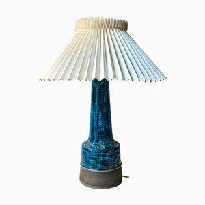 Lampada da tavolo Rimini in ceramica blu di Aldo Londi per Bitossi, anni '60