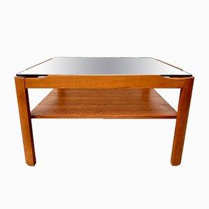 Vintage Glass & Teak #D172 Coffee Table, 1970s