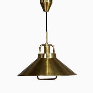 Danish Brass Rise & Fall Pendant by Fritz Schlegel for Lyfa, 1960s