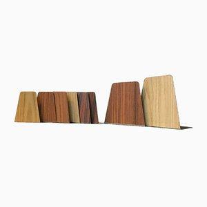 Fermalibri in teak, quercia e impiallacciati in palissandro, anni '60, set di 8