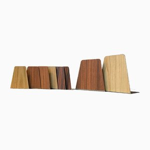 Teak, Oak, & Rosewood Veneered Bookends, 1960s, Set of 8