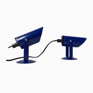 Lámparas de pared danesas minimalistas en azul de Lyfa, años 80. Juego de 2