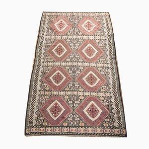 Alfombra de pasillo Kars turca vintage de lana multicolor bordada, años 40