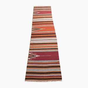 Alfombra de pasillo turca vintage multicolor de lana, años 50