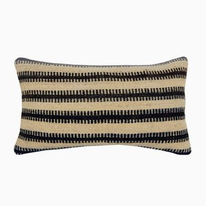 Natural Lumbar Kilim Pillow Cover with African Mudcloth Pattern from Vintage Pillow Store Contemporary