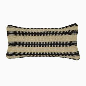 Funda de cojín turca hecha con Kilim de lana con estampado rústico de rayas de Vintage Pillow Store Contemporary