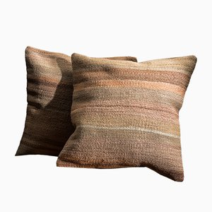 Brown and Beige Wool & Cotton Striped Kilim Pillow Covers by Zencef Contemporary, Set of 2