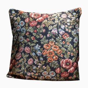 Funda de cojín hecha con Kilim floral de algodón negro y lana de Zencef Contemporary