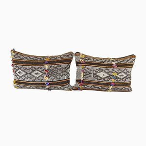 Geometrical Turkish Kilim Pillow Covers with Traditional Pattern from Vintage Pillow Store Contemporary, Set of 2