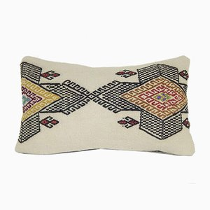 Natural Kilim Pillow Cover with African Mudcloth Pattern from Vintage Pillow Store Contemporary