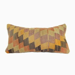 Turkish Wool Diamond-Patterned Kilim Pillow Cover from Vintage Pillow Store Contemporary
