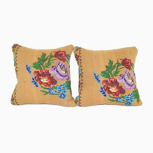 Handwoven Wool Kilim Pillow with Floral Pattern from Vintage Pillow Store Contemporary