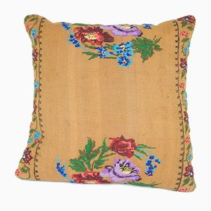 Handwoven Floral Pattern Aubusson Kilim Pillow from Vintage Pillow Store Contemporary