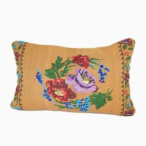 Aubusson Kelim Kissenbezug mit floralem Muster von Vintage Pillow Store Contemporary